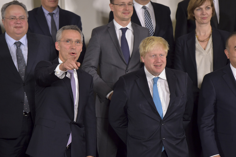 Left to right: NATO Secretary General Jens Stoltenberg with Boris Johnson (UK Minister of Foreign Affairs)