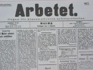 Första numret av Arbetet. 6 augusti 1887